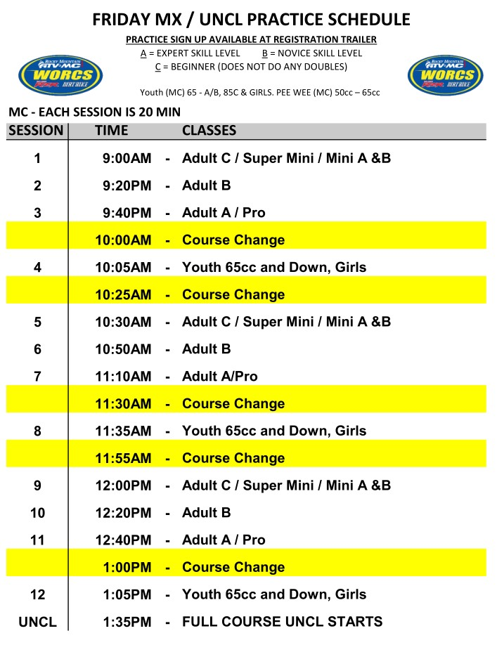 2020 Round 6 and 7 Blythe MC MX Practice Schedule
