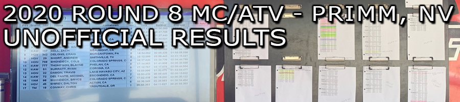 2020 ROUND 8 MC/ATV UNOFFICIAL MC RACE RESULTS