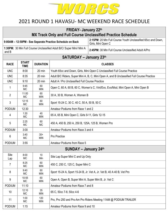 2021 R-1 HAVASU MC Race Weekend