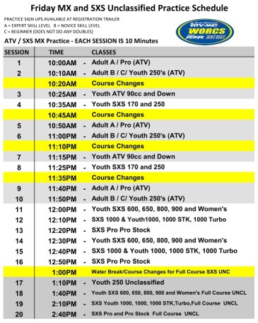 2021 Round 1 Friday MX and UNC HAVASU Schedule WEB