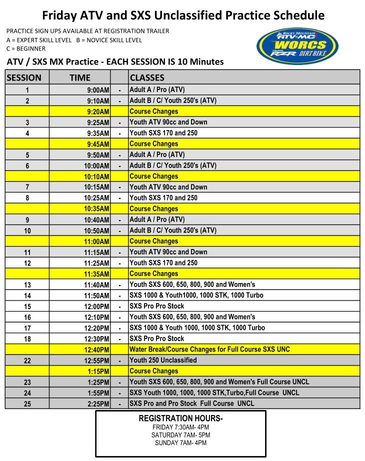 2021 R 6 ATV SXS - Cedar City Moto Practice Schedule
