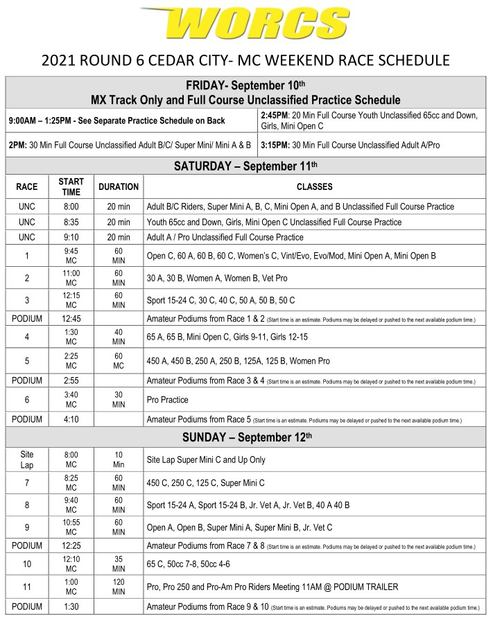 2021 R-6 MC Cedar City Race Weekend
