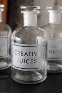 Glass jar etched with the words 'Creative juices'