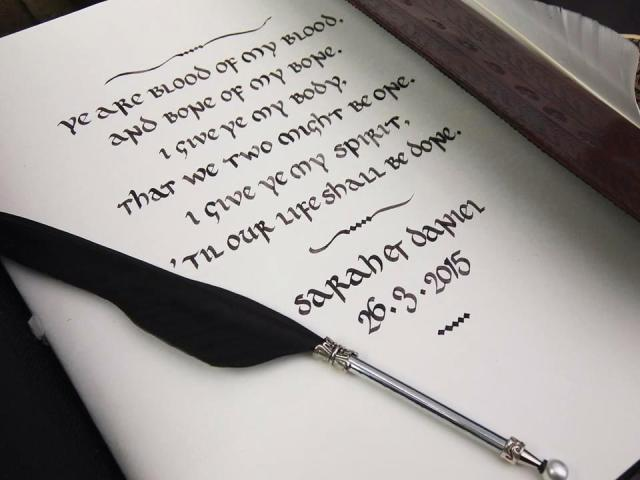 Calligraphy in a wedding guest book from creative-calligraphy.com