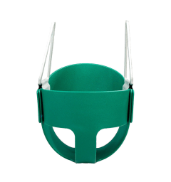A green full bucket swing, with leg holes and wrap around support for pelvis/torso of a small child.