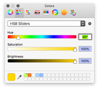 Using the macOS color sliders to edit the HSB vaues.