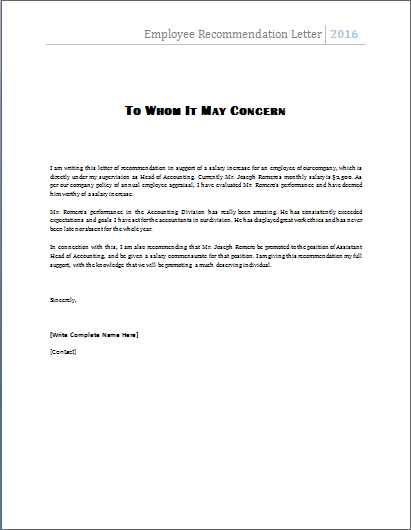 Microsoft Word Reference Template ms word employee recommendation – Reference Letter Template Microsoft Word