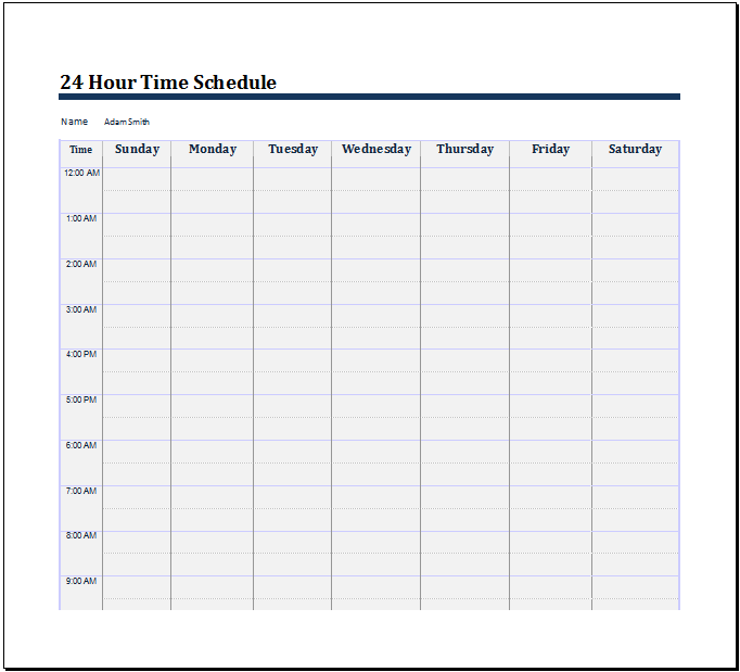 Search results for daily schedule printable page 2 for 24 hour weekly calendar template