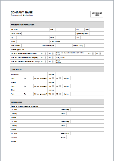 Job Application Form Sample For Ms Word Word Document