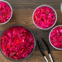 Lacto-fermented Cabbage, Red Beet, and Carrot Sauerkraut
