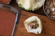 Miz and steps for making stuffed cabbage rolls in red sauce lr-7870