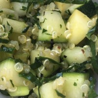 Italian Kale, Summer Squash and Spring Onion Salad with Quinoa