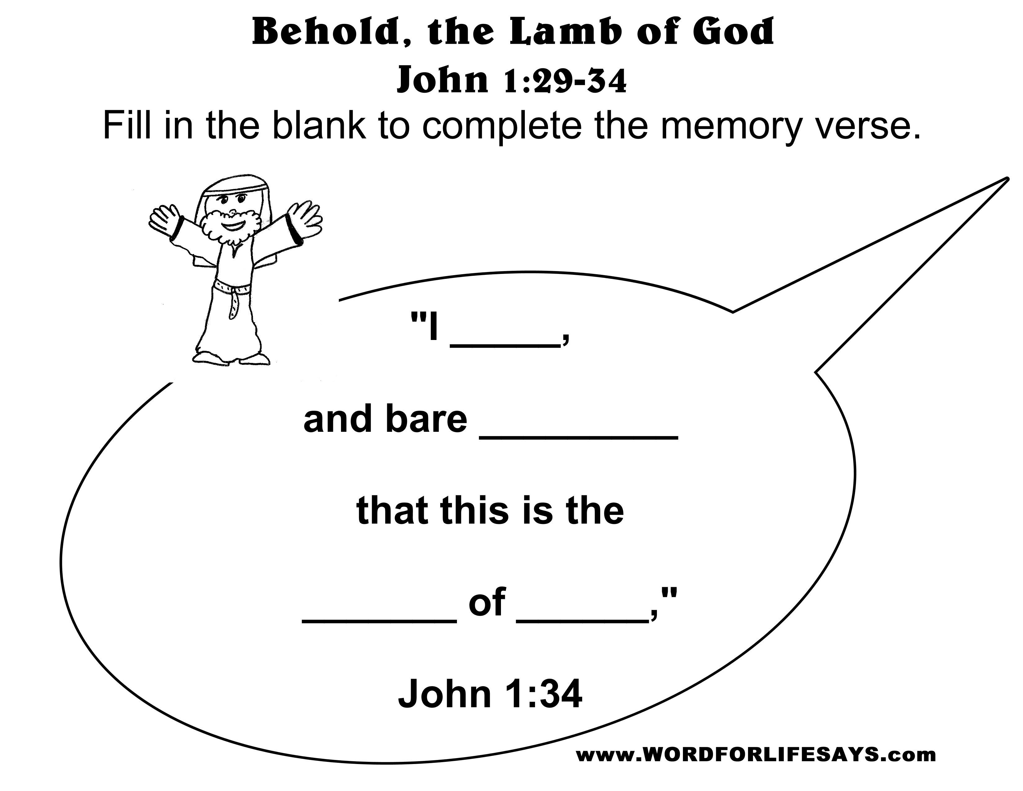 Bible Worksheets For Kids On John 19 1 42