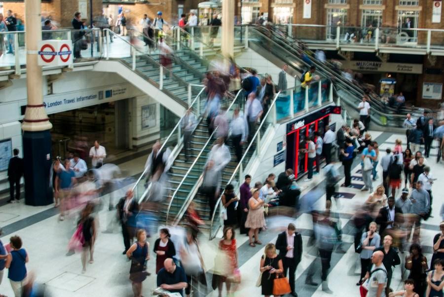 Rush hour in London underground