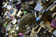 Our love lock on Pont des Arts (Love Lock Bridge)