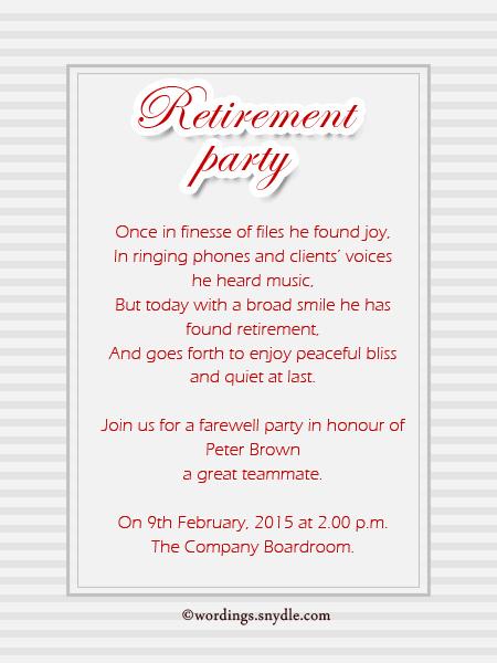 Invitation letter for retirement party in hindi wedding retirement party invitation wording ideas and sles wordings retirement party invitation letter stopboris Gallery