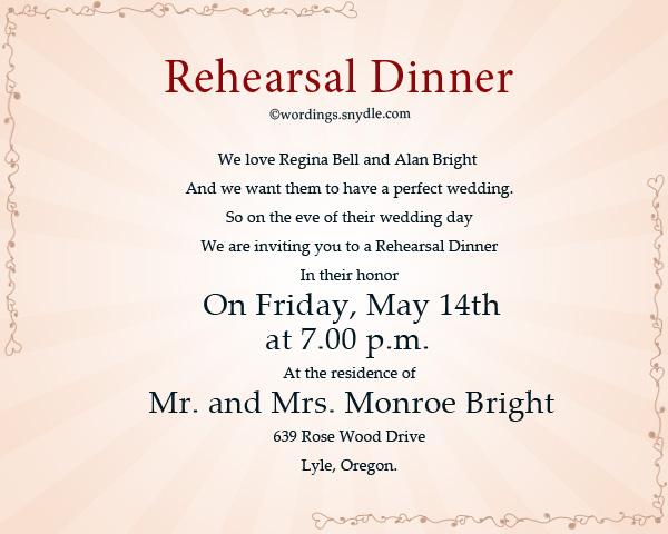 Wedding Rehearsal Dinner Invitation Wordings Sle