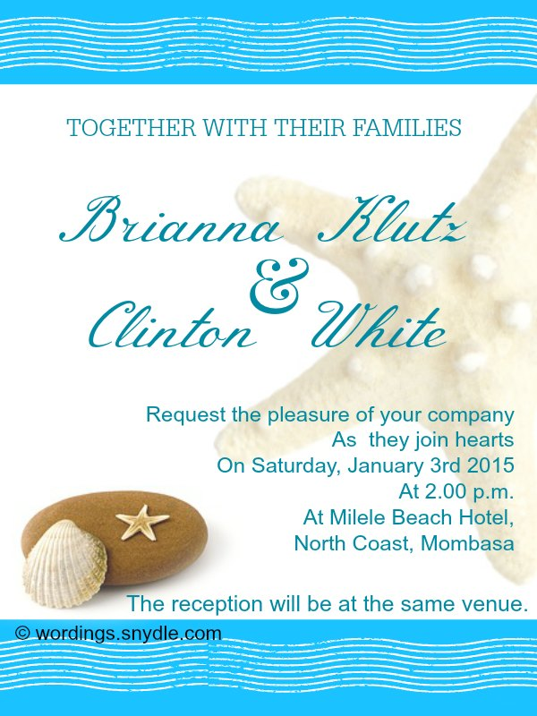 Beach Wedding Invitation Wording Sles