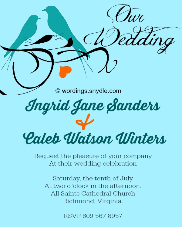 Informal Wedding Invitation Wording Sles