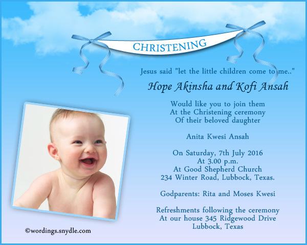 Christening Invitation Sample