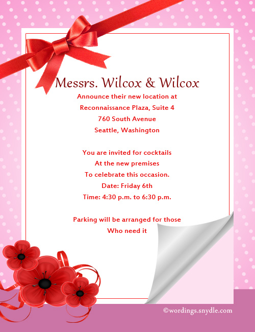 Invitation Letter For New Office Opening Ceremony Wedding – Inauguration Invitation Card Sample