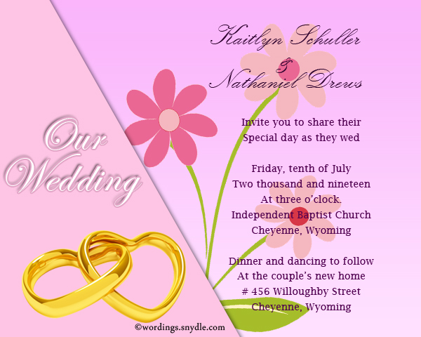 Informal Wedding Invitation Wording Samples Wordings And