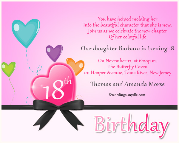 18th birthday party invitation wording