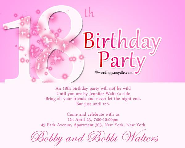 18th birthday party invitation wording