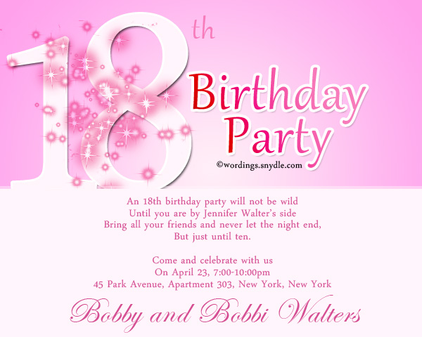 18th Birthday Party Invitation Wording Wordingessages