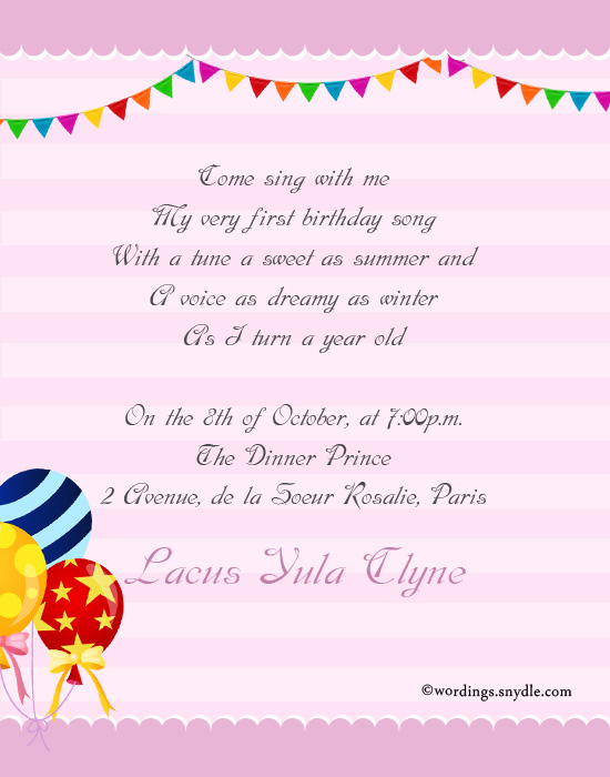 1st Birthday Party Invitation Wording Wordingessages