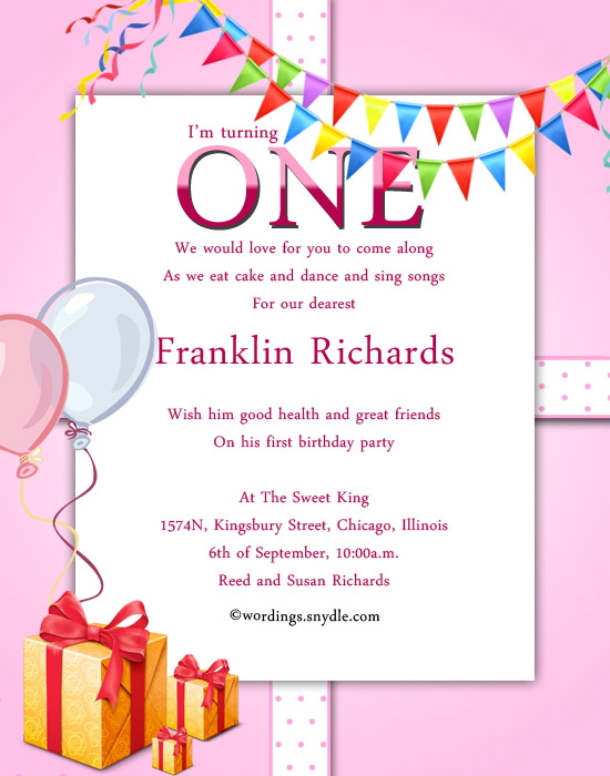1st Birthday Party Invitation Wording Wordingessages