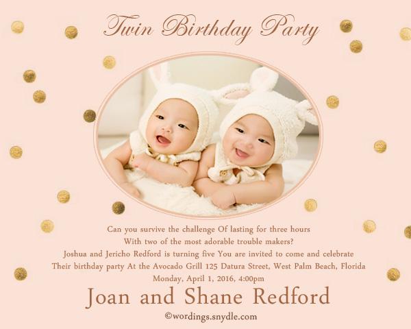 Twin Birthday Party Invitation