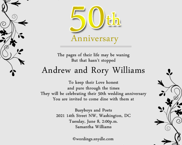 50th Wedding Anniversary Invitation Greeting Cards