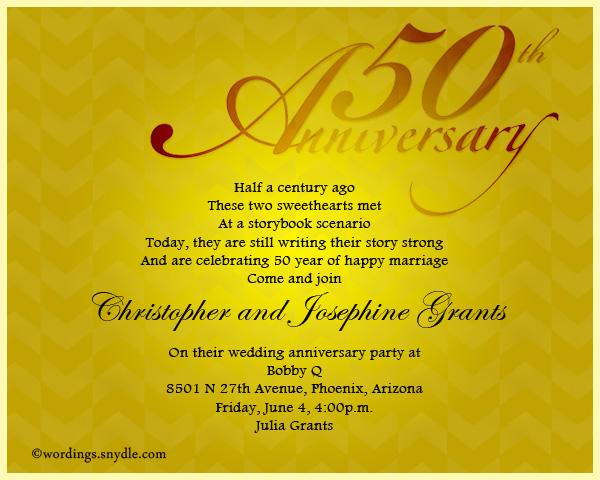 50th Wedding Anniversary Invitation Wordings Sle