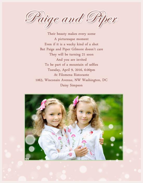 Twin Birthday Party Invitation Greetings