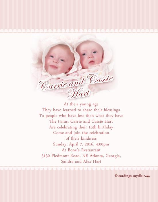 Twin Birthday Party Invitation Wordings Ideas