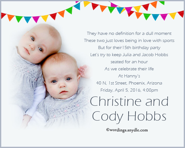 Twins 1st Birthday Party Invitations Wedding Invitation Sample