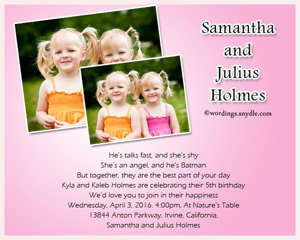 Twin Birthday Party Invitation Wordings