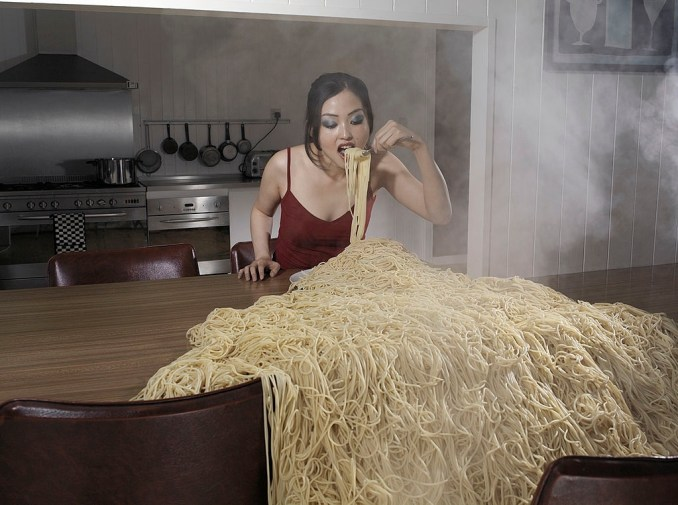 pasta all over the table