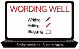 Wording Well's business card image for freelancing services offered