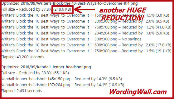 Proof of another huge reduction in image size as a result of using the EWWW image optimizer
