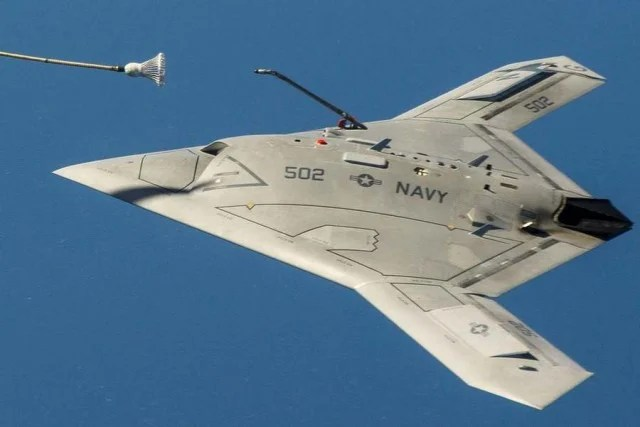 The Unmanned X 47b Sipping Gas From A Tanker