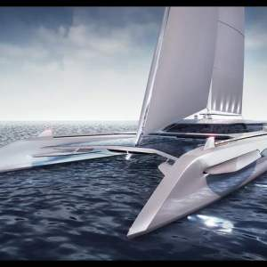 Eco catamaran 50-meter sailing yacht