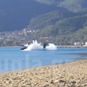 AH-64D Apache helicopter falls on the beach