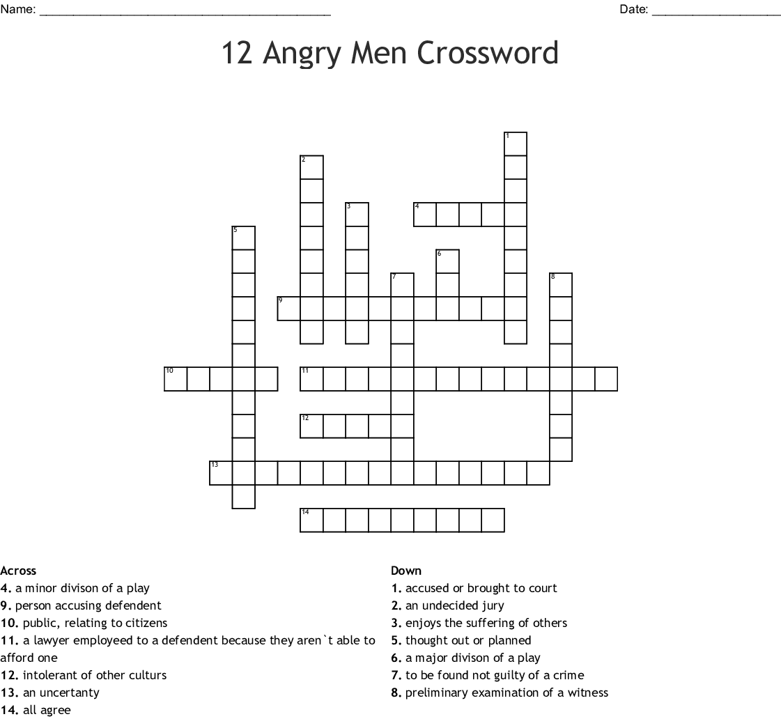 12 Angry Men Crossword