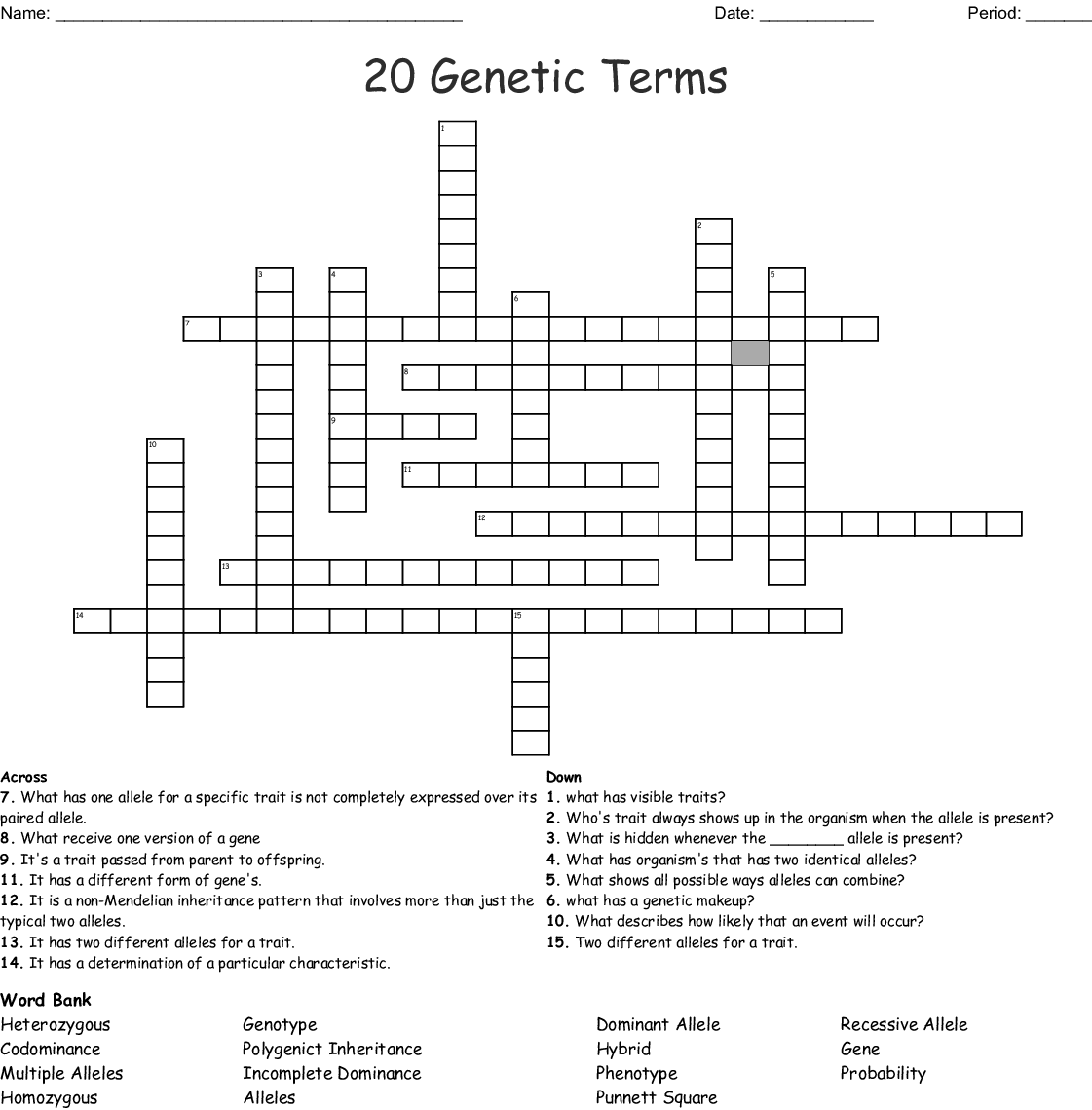 20 Genetic Terms Crossword