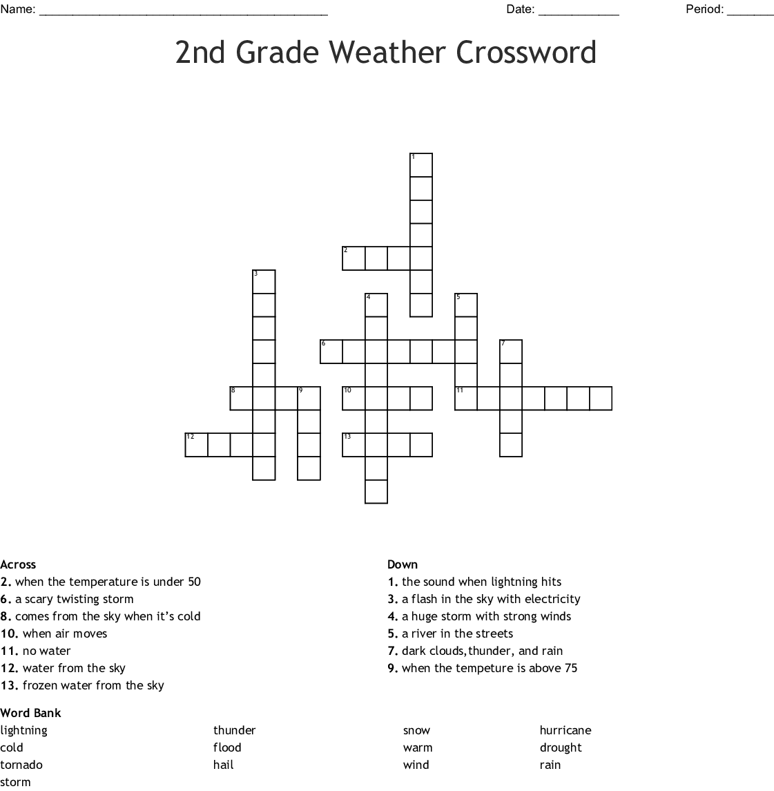 2nd Grade Weather Crossword