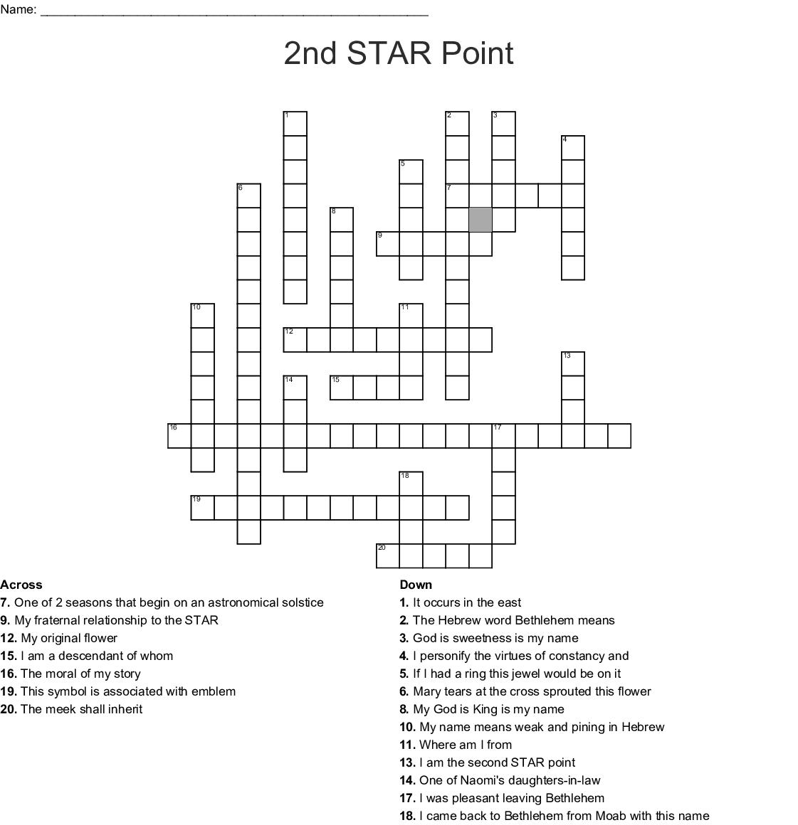 Eastern Star Crossword