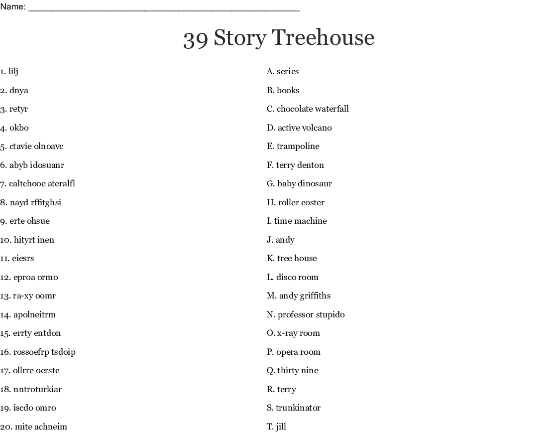 The 39 Story Treehouse Word Search