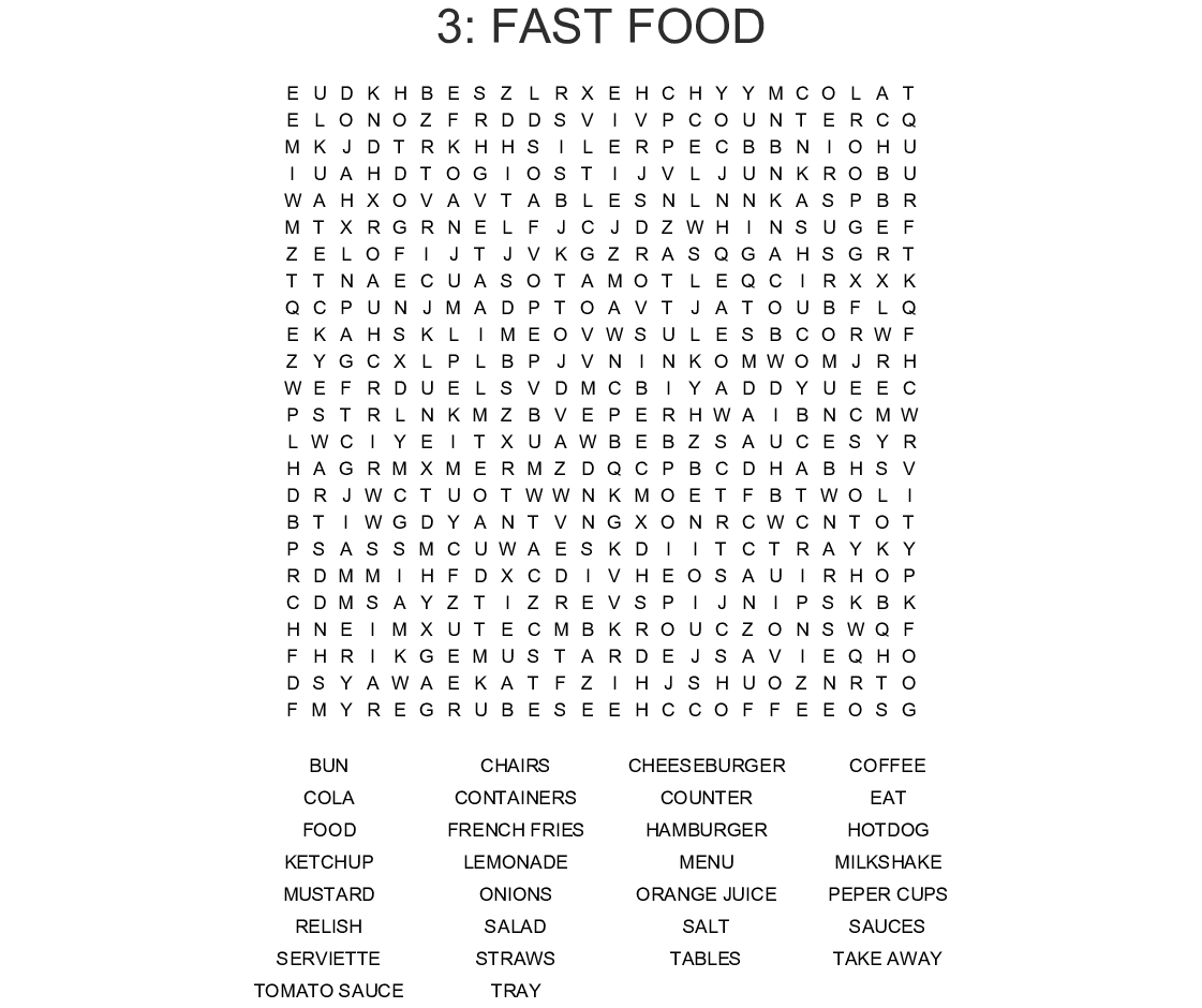 Food Amp Drink Crosswords Word Searches Bingo Cards